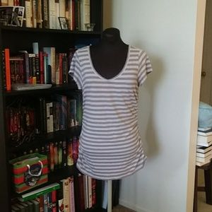Striped top with side ruching